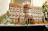 The White House Christmas decorations were shown to the press on December 3, 2001.  Even though the Executive Mansion has been closed to tourists since the 9/11 terrorist attacks, the annual ritual of decorating the house continues.  The gingerbread house is a re-creation of the White House as it appeared in 1800 when President John Adams became the first resident.  The gingerbread house took approximately three weeks to create.  The house is made from 80 pounds of gingerbread, 30 pounds of chocolate and 20 pounds of marzipan.<br /> Credit: Ron Sachs / CNP