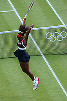 04.08.2012. Wimbledon, London, England.  Serena Williams of USA Celebrates After Winning the womens gold medal for ladies singles. 2012 London Olympic Games.