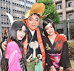 "August 3, 2013, Nagoya, Aichi, Japan : Mayor of Nagoya Takashi Kawamura poses for camera with Vietnamese participants during the red carpet ceremony for the ""World cosplay summit 2013"" in Nagoya, Aichi prefecture, Japan, on August 3, 2013. (Photo by AFLO)"