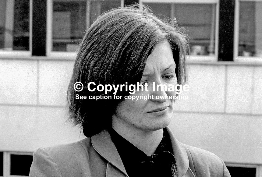 Marcella Sands, sister of Bobby Sands, the Provisional IRA Anti H-Block hunger striker, waiting for the Fermanagh & South Tyrone by-election result in which her brother was a candidate. The election was on 9th April 1981 and the count on 10th April 1981. Bobby Sands won the seat but still on hunger strike died a few weeks later on 5th May 1981. 198104100070S8..Copyright Image from Victor Patterson, 54 Dorchester Park, Belfast, United Kingdom, UK...For my Terms and Conditions of Use go to http://www.victorpatterson.com/Victor_Patterson/Terms_%26_Conditions.html