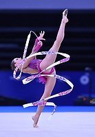 Wales' Francesca Jones competes in rhythmic gymnastics team final and individual qualification subdivision 2<br /> <br /> Photographer Chris Vaughan/CameraSport<br /> <br /> 20th Commonwealth Games - Day 1 - Thursday 24th July 2014 - Rhythmic Gymnastics - The SSE Hydro - Glasgow - UK<br /> <br /> © CameraSport - 43 Linden Ave. Countesthorpe. Leicester. England. LE8 5PG - Tel: +44 (0) 116 277 4147 - admin@camerasport.com - www.camerasport.com