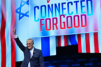 Washington, DC - March 25, 2019: U.S. Senator Chuck Schumer, Senate Democratic Leader, greets attendees of the 2019 AIPAC Policy Conference held at the Washington Convention Center, March 25, 2019.  (Photo by Don Baxter/Media Images International)