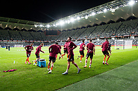 29th July 2020; Bankwest Stadium, Parramatta, New South Wales, Australia; A League Football, Melbourne Victory versus Brisbane Roar; Brisbane Roar players warm up before kick off