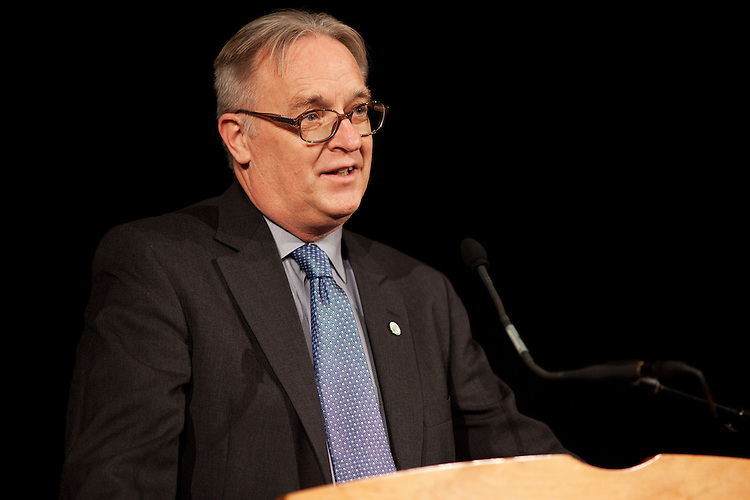 Athens Mayor Paul Wiehl speaks at the annual Martin Luther King Jr. Brunch in the Baker Center at Ohio University in Athens, Ohio on Monday, January 21, 2013. Photo by Chris Franz