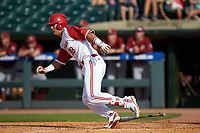 Evan Mendoza (18) of the North Carolina State Wolfpack starts down the first base line against the Boston College Eagles in Game Two of the 2017 ACC Baseball Championship at Louisville Slugger Field on May 23, 2017 in Louisville, Kentucky. The Wolfpack defeated the Eagles 6-1. (Brian Westerholt/Four Seam Images)