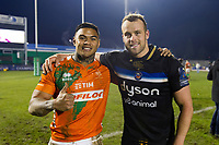 Monty Ioane of Benetton Rugby and Michael van Vuuren of Bath Rugby pose for a photo after the match. European Rugby Champions Cup match, between Benetton Rugby and Bath Rugby on January 20, 2018 at the Municipal Stadium of Monigo in Treviso, Italy. Photo by: Patrick Khachfe / Onside Images