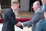 King Juan Carlos I gives award to Marcus Walz during National Sport Awards 2016 at El Pardo Palace in Madrid , Spain. February 19, 2018. (ALTERPHOTOS/Borja B.Hojas)