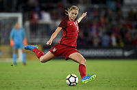Orlando City, FL - Wednesday March 07, 2018: Abby Dahlkemper during a 2018 SheBelieves Cup match between the women's national teams of the United States (USA) and England (ENG) at Orlando City Stadium.