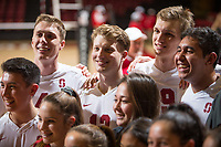 STANFORD, CA - January 5, 2019: Justin Lui, Eric Beatty, Jordan Ewert, Stephen Moye, Mason Tufuga at Maples Pavilion. The Stanford Cardinal defeated UC Santa Cruz 25-11, 25-17, 25-15.