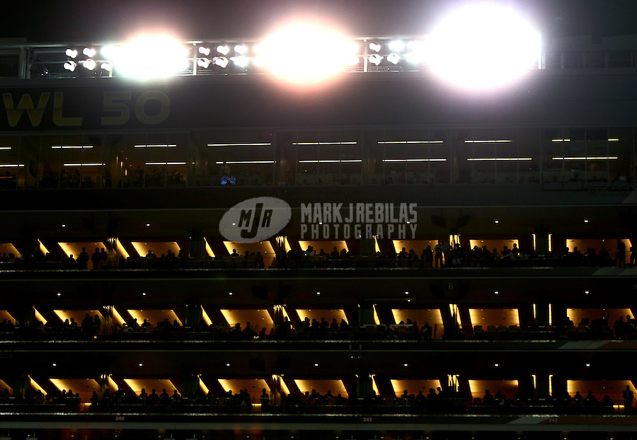 Feb 7, 2016; Santa Clara, CA, USA; Overall view of suites and the press box of Levi's Stadium during the Denver Broncos game against the Carolina Panthers in Super Bowl 50. Mandatory Credit: Mark J. Rebilas-USA TODAY Sports