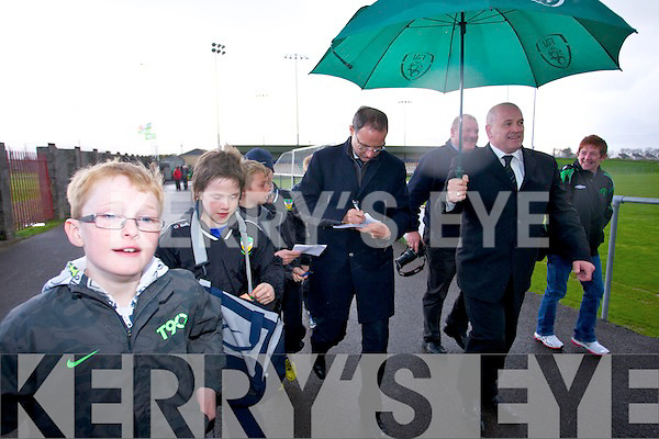 Ireland Manager Martin O'Neill visited the Kerry District League at Mounthawk Park on Friday.
