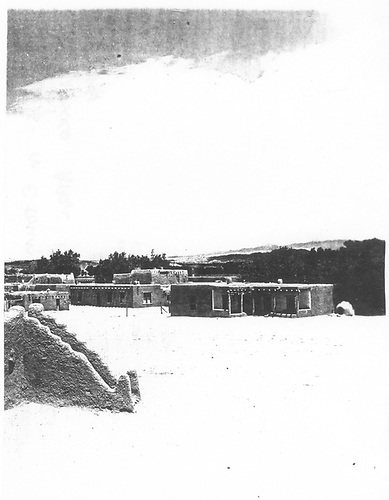 Fragment of a view of an unidentified New Mexico pueblo.
