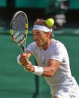 England, London, Juli 02, 2015, Tennis, Wimbledon, Rafael Nadal (ESP) in his match against Dustin Brown (GER)<br /> Photo: Tennisimages/Henk Koster