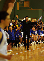 St Pats coaches Dale Sharp (left) and Peter Ruscoe celebrate victory during the NZ Secondary Schools Basketball Championships match between Fraser High School and St Patricks College at Arena Manawatu, Palmerston North, New Zealand on Saturday 4 October 2008. Photo: Dave Lintott / lintottphoto.co.nz