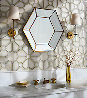 Jardin, a stone waterjet mosaic, shown in honed Bianco Antico, polished Calacatta, and Raw Fiber glass. Designed by Sara Baldwin for New Ravenna.<br />