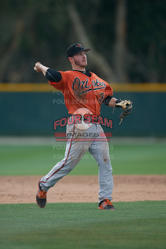 Baltimore Orioles third baseman John Ham (36) throws to first base during a Minor League Spring Training game against the Tampa Bay Rays on March 16, 2019 at the Buck O'Neil Baseball Complex in Sarasota, Florida.  (Mike Janes/Four Seam Images)