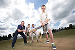 SWALEC ambassador Robert Croft visiting Newtown Cricket Club with Steve Watkins from Cricket Wales, team members Callum and Danny Foulkes and chairman Peter Davies.<br /> <br /> 24.07.13<br /> &copy;Steve Pope-Sportingwales