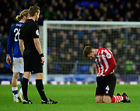 Lincoln City's Michael O'Connor suffers an injury in the first half<br /> <br /> Photographer Chris Vaughan/CameraSport<br /> <br /> Emirates FA Cup Third Round - Everton v Lincoln City - Saturday 5th January 2019 - Goodison Park - Liverpool<br />  <br /> World Copyright &copy; 2019 CameraSport. All rights reserved. 43 Linden Ave. Countesthorpe. Leicester. England. LE8 5PG - Tel: +44 (0) 116 277 4147 - admin@camerasport.com - www.camerasport.com