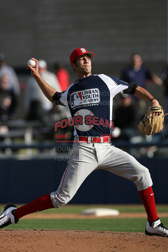 Kieran Lovegrove of Mission Viejo High School during a MLB Scouting Bureau workout at the Urban Youth Academy on February 11, 2012 in Compton, California.(Larry Goren/Four Seam Images)