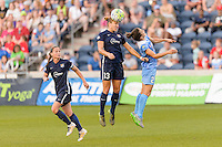 Bridgeview, IL, USA - Sunday, May 29, 2016: Sky Blue FC defender Kristin Grubka (13) and Chicago Red Stars forward Jennifer Hoy (2) during a regular season National Women's Soccer League match between the Chicago Red Stars and Sky Blue FC at Toyota Park. The game ended in a 1-1 tie.