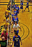 14 October 2012: The Yeshiva University Maccabees congratulate the opposing team after a loss to the Culinary Institute Steels at Culinary Institute of America in Hyde Park, NY. The Steels defeated the Maccabees 3-0 in NCAA women's volleyball play. Mandatory Credit: Ed Wolfstein Photo