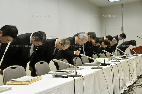 November 7, 2012, Tokyo, Japan - President Naomi Hirose and all executives of Tokyo Electric Power Co., attend a news conference at its head office in Tokyo on Wednesday, November 7, 2012., to announce its action plans...Hirose, leading the internal Nuclear Reform Special Task Force, outlined the plans to cut costs and make the Japan's largest utility more competitive. At the same time, the operator of the crippled nuclear power plant sought more government financial support to cover the huge costs of decommissioning the plant and cleaning up radioactive contamination.  (Photo by Natsuki Sakai/AFLO) AYF -mis-