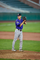 Colton Harlow (14) of the Grand Junction Rockies gets ready to deliver a pitch during a game against the Ogden Raptors at Lindquist Field on September 7, 2018 in Ogden, Utah. The Rockies defeated the Raptors 8-5. (Stephen Smith/Four Seam Images)