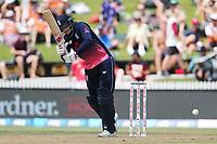 England's Joe Root works a single. New Zealand Blackcaps v England. One Day International Cricket. Seddon Park, Hamilton, New Zealand on Sunday 25 February 2018.<br /> <br /> Copyright photo: &copy; Bruce Lim / www.photosport.nz