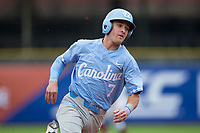 Logan Warmoth (7) of the North Carolina Tar Heels hustles towards third base on his way to scoring a run against the Boston College Eagles in Game Five of the 2017 ACC Baseball Championship at Louisville Slugger Field on May 25, 2017 in Louisville, Kentucky.  The Tar Heels defeated the Eagles 10-0 in a game called after 7 innings by the Mercy Rule. (Brian Westerholt/Four Seam Images)