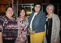 NWA Democrat-Gazette/CARIN SCHOPPMEYER Cyndi Bilyeu(cq) (from left), Gay Prescott, Teresa Mills and Jaclyn Keeter welcome current and former National Philanthropy Day honorees at a VIP reception Nov. 15 at the Embassy Suites in Rogers.