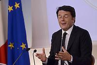 Roma, 5 Agosto 2015<br /> Palazo Chigi.<br />  Matteo Renzi illustra alla stampa la legge di riforma della Pubblica amministrazione