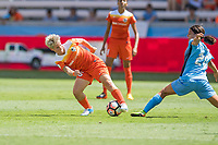 Houston, TX - Saturday May 13, Houston Dash defender Janine Van Wyk (55), Sky Blue FC forward Samantha Kerr (20) during a regular season National Women's Soccer League (NWSL) match between the Houston Dash and Sky Blue FC at BBVA Compass Stadium. Sky Blue won the game 3-1.