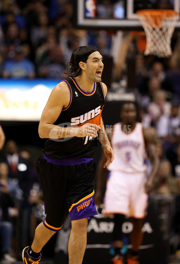 Feb. 10, 2013; Phoenix, AZ, USA: Phoenix Suns power forward Luis Scola against the Oklahoma City Thunder at the US Airways Center. Mandatory Credit: Mark J. Rebilas-