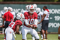 Stanford, CA - April 13, 2019: Davis Mills during the Spring Football game at Cagan Stadium on Saturday.<br /> <br /> The Defense won 20-14.