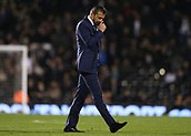 31st October 2017, Craven Cottage, London, England; EFL Championship football, Fulham versus Bristol City; Fulham Manager Slavisa Jokanovic looking dejected at the half time whistle as the half time score is 0-2