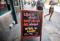 Ladies Night advertised at a bar in Flatiron in New York on Tuesday, July 19, 2016. (© Richard B. Levine)