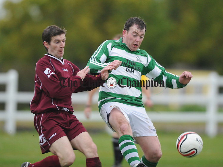 Kieran Dillon of Connolly Celtic in action against Cathal O Sullivan of Rhine Rovers during their division 1 League final at Doora. Photograph by John Kelly.