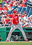 16 August 2017: Los Angeles Angels shortstop Andrelton Simmons in action against the Washington Nationals at Nationals Park in Washington, DC. The Angels defeated the Nationals 3-2 to split their 2-game series. Mandatory Credit: Ed Wolfstein Photo *** RAW (NEF) Image File Available ***