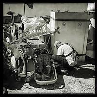 Sea Watch-2.<br /> Die Sea Watch-2 bei ihrer 13. SAR-Mission vor der libyschen Kueste.<br /> Im Bild: Zwei Mitglieder der Crew behandeln eine Frau, die von einem Schlauchboot gerettet wurde.<br /> 20.10.2016, Mediterranean Sea<br /> Copyright: Christian-Ditsch.de<br /> [Inhaltsveraendernde Manipulation des Fotos nur nach ausdruecklicher Genehmigung des Fotografen. Vereinbarungen ueber Abtretung von Persoenlichkeitsrechten/Model Release der abgebildeten Person/Personen liegen nicht vor. NO MODEL RELEASE! Nur fuer Redaktionelle Zwecke. Don't publish without copyright Christian-Ditsch.de, Veroeffentlichung nur mit Fotografennennung, sowie gegen Honorar, MwSt. und Beleg. Konto: I N G - D i B a, IBAN DE58500105175400192269, BIC INGDDEFFXXX, Kontakt: post@christian-ditsch.de<br /> Bei der Bearbeitung der Dateiinformationen darf die Urheberkennzeichnung in den EXIF- und  IPTC-Daten nicht entfernt werden, diese sind in digitalen Medien nach §95c UrhG rechtlich geschuetzt. Der Urhebervermerk wird gemaess §13 UrhG verlangt.]