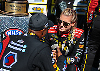 Sep 16, 2018; Mohnton, PA, USA; NHRA top fuel driver Leah Pritchett (right) talks with Antron Brown during the Dodge Nationals at Maple Grove Raceway. Mandatory Credit: Mark J. Rebilas-USA TODAY Sports