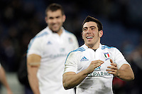 Rugby, torneo Sei Nazioni 2013: Italia vs Francia. Roma, stadio Olimpico, 3 febbraio 2013..Italy's Edoardo Gori celebrates at the end of the Six Nations rugby union international match between Italy and France, at Rome's Olympic stadium, 3 February 2013. Italy won 23-18..UPDATE IMAGES PRESS/Riccardo De Luca