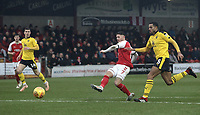 Fleetwood Town's Wes Burns scores the opening goal <br /> <br /> Photographer Rich Linley/CameraSport<br /> <br /> The EFL Sky Bet League One - Fleetwood Town v Oxford United - Saturday 12th January 2019 - Highbury Stadium - Fleetwood<br /> <br /> World Copyright &copy; 2019 CameraSport. All rights reserved. 43 Linden Ave. Countesthorpe. Leicester. England. LE8 5PG - Tel: +44 (0) 116 277 4147 - admin@camerasport.com - www.camerasport.com