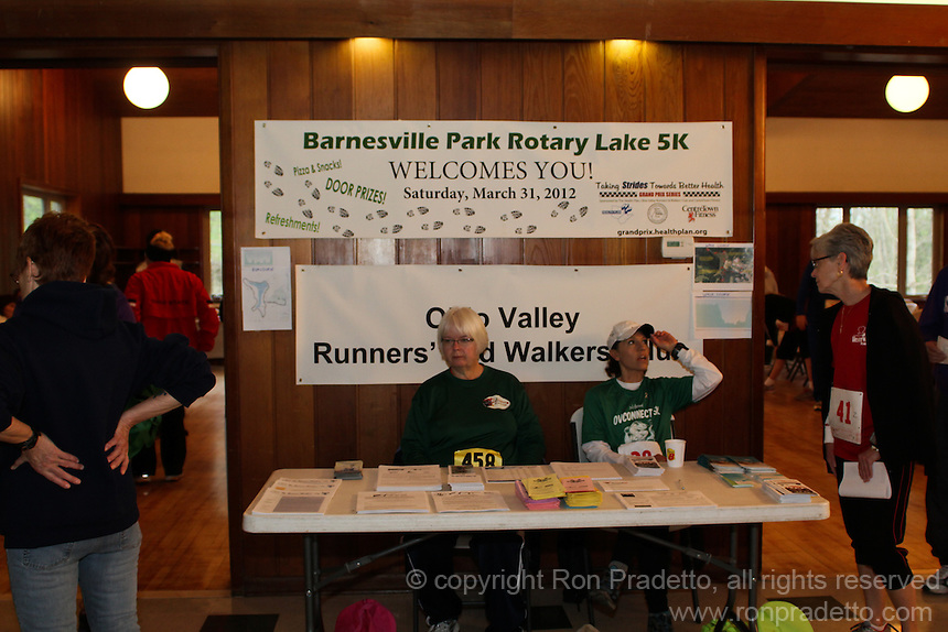 Barnesville Park Rotary Lake 5K Trail Run/Walk & Kids fun run, at Barnesville Park Rotary Lake, Barnesville, Ohio on March 31, 2012.