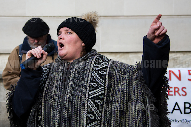 Paula Peters (Member of Disabled People Against Cuts, DPAC).<br /> <br /> London, 28/01/2017. Today, activists, doctors, nurses and members of the public gathered outside the Houses of Parliament to march to the Department of Health in Richmond House. The demonstration, led by Hands Off Our NHS, was called to protest against the National Health Service (NHS) crisis which recently led the Red Cross to declare a humanitarian crisis in the British NHS and were forced to intervene. From the organisers Facebook event page: &lt;&lt;[&hellip;] With the imminent consultation around the government's &quot;Sustainability and Transformation Plans (STPs)&quot; NHS campaigning groups are joining forces with three main aims: 1. to raise public awareness that this is a package of &pound;22bn of underfunding to healthcare services; 2. to put pressure on local councils, our MPs, NHS England and Jeremy Hunt to restore our NHS; 3. to hold a national demonstration and rally on Saturday 28th January 2017. We have chosen this date because the delivery and implementation of these plans will take place from January to March 2017 [&hellip;]&gt;&gt;.<br /> <br /> For more information please click here: www.stopthestps.org.uk  &amp; https://www.facebook.com/events/1599650713674010/