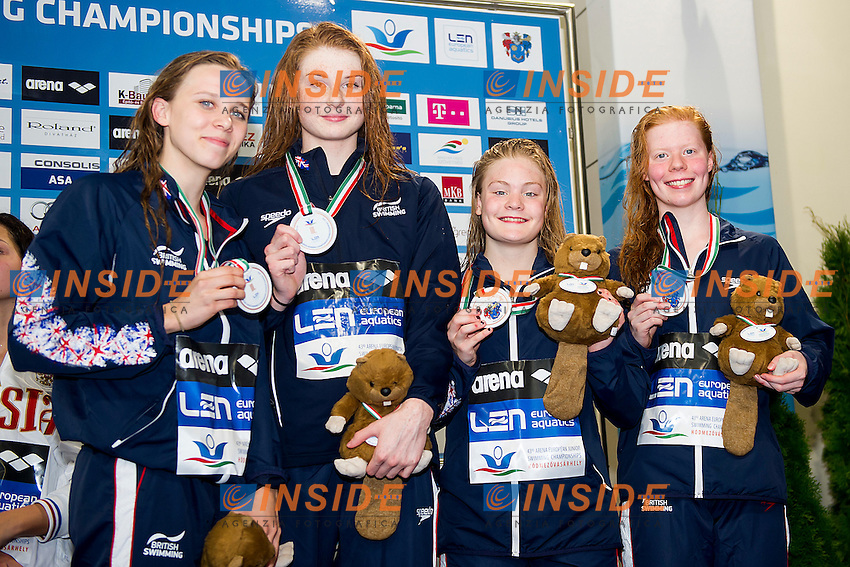Team Great Britain GBR<br /> 4X100 Medley Relay Women Final Bronze Medal<br /> LEN 43rd Arena European Junior Swimming Championships<br /> Hodmezovasarhely, Hungary <br /> Day03 08-07-2016<br /> Photo Andrea Masini/Deepbluemedia/Insidefoto