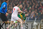 Bryan Sheehan, Kerry in action against Aidan Kelly Tyrone in the fourth round of the National Football league at Fitzgerald Stadium, Killarney on Sunday.