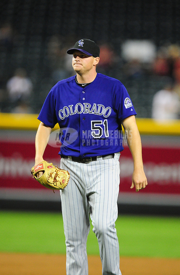 May 4, 2011; Phoenix, AZ, USA; Colorado Rockies pitcher Matt Reynolds against the Arizona Diamondbacks at Chase Field. Mandatory Credit: Mark J. Rebilas-