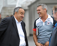 WRFU chief executive James Te Puni shares a joke with his St Kilda counterpart Michael Nettleford during the  Hurricanes Super 15 rugby training at Hutt Recreation Ground, Lower Hutt, Wellington, New Zealand on Thursday, 24 January 2013. Photo: Dave Lintott / lintottphoto.co.nz