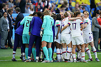 LE HAVRE, FRANCE - JUNE 20: USA huddle during a 2019 FIFA Women's World Cup France group F match between the United States and Sweden at Stade Océane on June 20, 2019 in Le Havre, France.