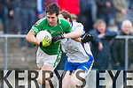 Pa Wren Milltown/Castlemaine is tackled by James Long Keel in the Mid Kerry final in Killorglin on Sunday